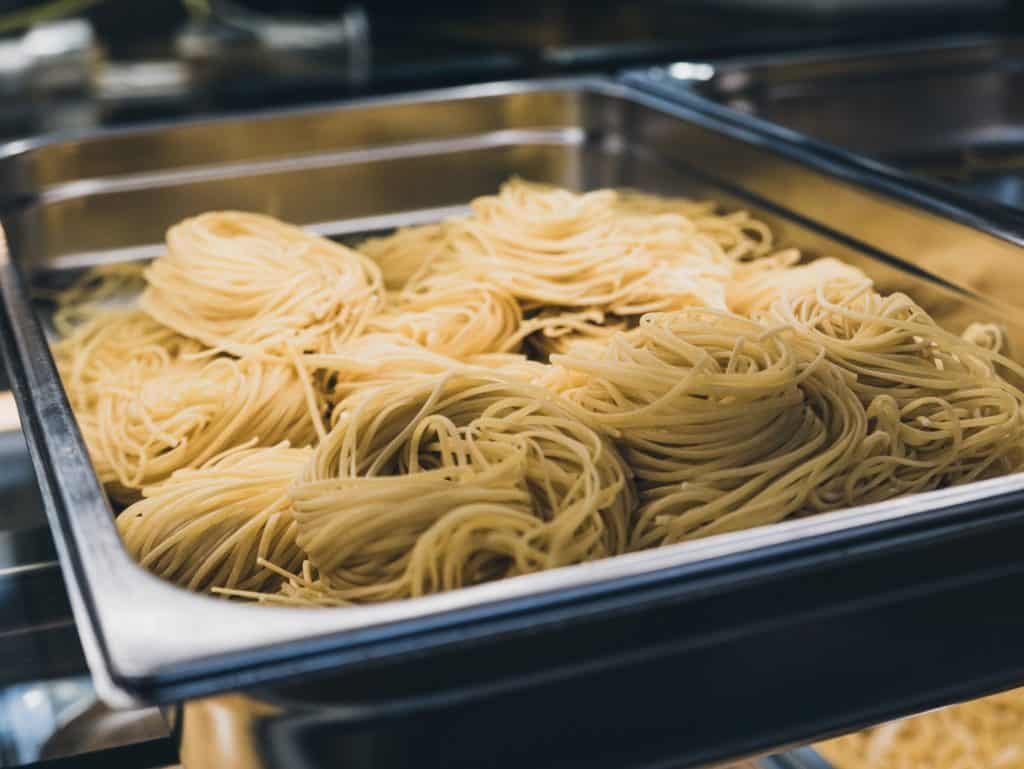 cooked pasta in a tray