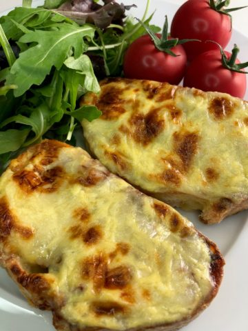 Easy Welsh Cornish Rarebit with cheese and egg and salad
