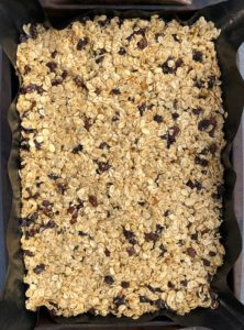 flapjack mixture in tray