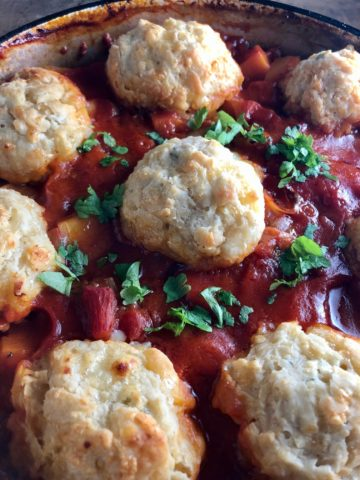 Winter Vegetable Stew with Cheesy Dumplings