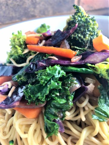 winter vegetable stir fry with noodles