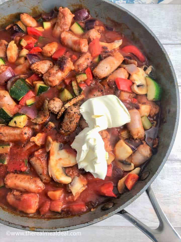sausages onion pepper courgette mushroom passata with 2 tablespoons cream cheese added