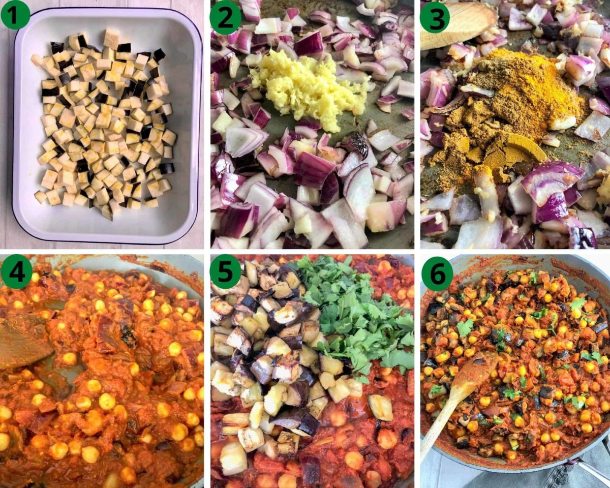 instruction images for aubergine and chickpea curry 1. cubed aubergines in tray 2. onion garlic and ginger in pan 3. spices added to pan. 4. tinned tomatoes and chickpeas added 5. roasted aubergine and fresh corainder leaves added 6. stirred together in pan